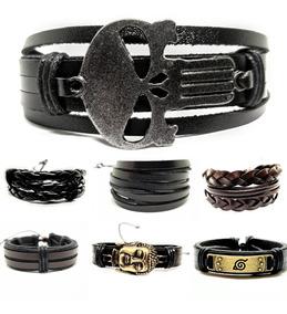 Pulseira Bracelete Couro Masculino Ajustável Sob Medida