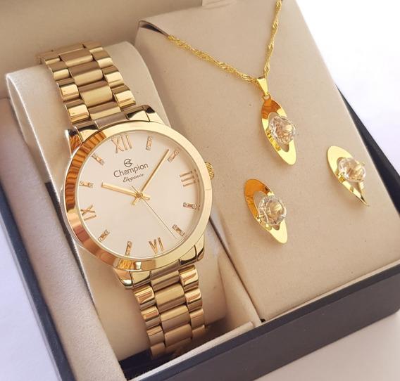 Relógio Champion Feminino Dourado Original + Colar Brincos