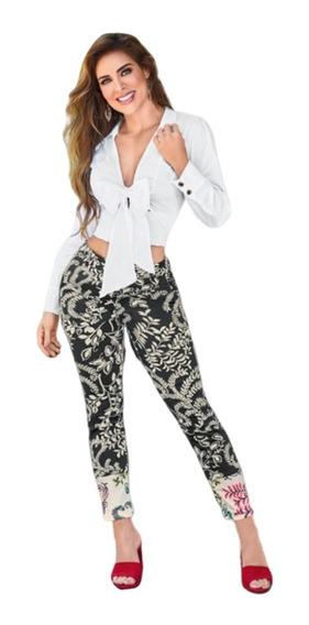 Pantalón Stretch Con Estampado Floreado