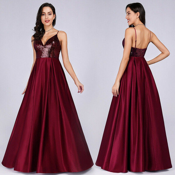 Vestido De Quince-fiesta- Egreso Bordó Talle M (mod.39)