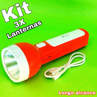 Kit 3 Lanternas Longo Alcance 3w Dp-9130 Especial Para Caça