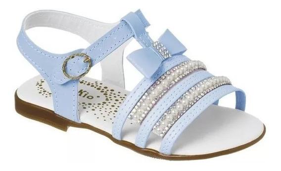 Sandália Infantil Azul Perola Feminino Menina Modinha Fashio
