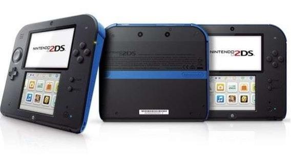 Console Nintendo 2ds 3ds Original Preto Azul + 482 Jogos Bag