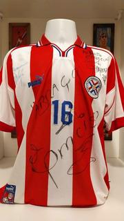 Camisa Futebol Seleção Paraguai 2001 Puma Autografada