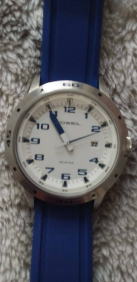 Relógio Fóssil Azul Novo Original Caixa Especial E Manual
