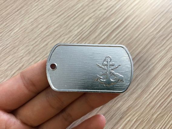 Fuzileiro Naval - Dog Tag De Alumínio + Corrente Niquelada
