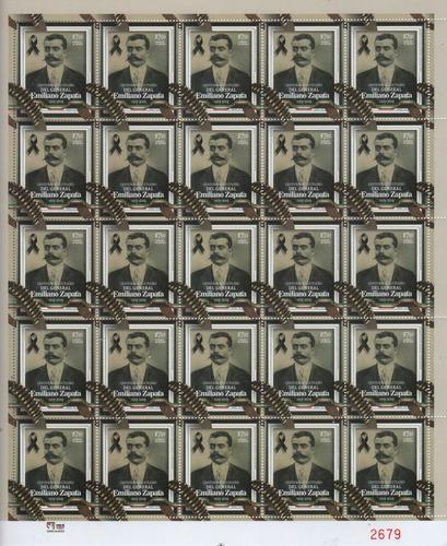 Imagen 1 de 3 de Timbre Postal De Emiliano Zapata Plantilla Completa 25 Pieza