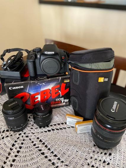 Kit Câmera Canon Rebel T5i + Lentes + Baterias + Acessórios