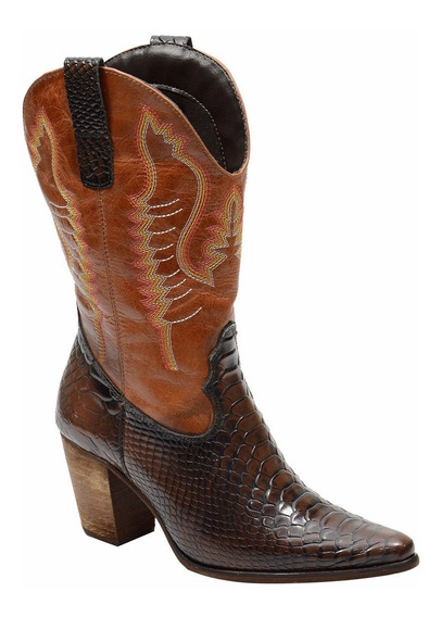 Bota Country Texana Feminina Anaconda Com Bordada Escrete