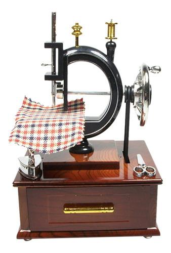 Imagen 1 de 10 de Caja De Música Antigua, Máquina De Coser A Cuerda,
