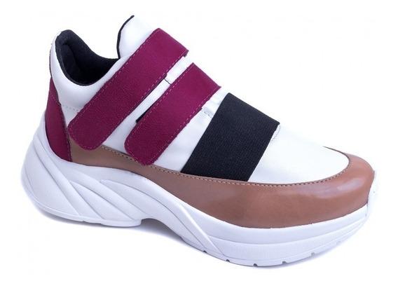 Tênis Chunky Sneaker Em Napa Branco, Rosê E Camurça Pink