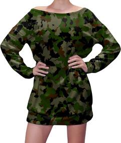 Vestido Feminino Blusão Em Moletinho Camuflado Camo Militar
