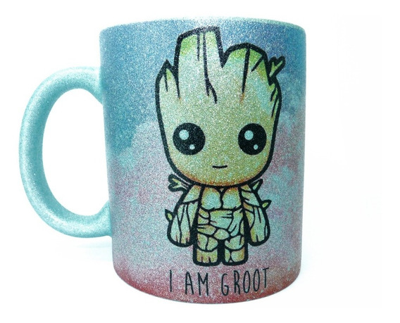 Caneca Baby Groot Com Glitter