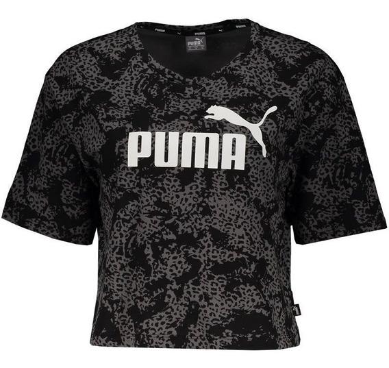 Blusa Cropped Puma Elevated Ess Log Preta