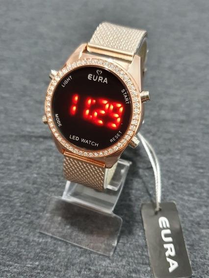 Relógio Feminino Eura Rosé Digital C/strass É Caixa Barato