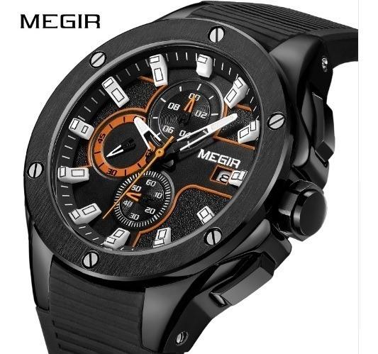 Relógio Masculino Megir Esportivo Militar Preto