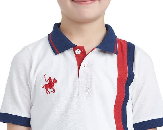 Playera York Team Polo Club Blanca Lineas Verticales Niño