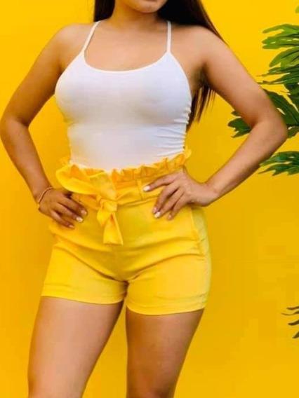 Sexy Short De Moño Amarillo Y Tribal Moda Juvenil