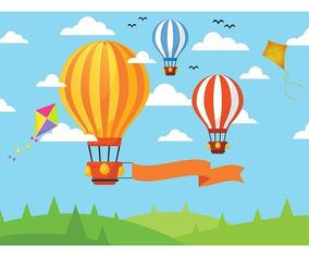 Painel De Festa Infantil Em Tecido Balões E Pipas 4,0x2,5m