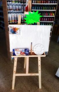 Combo Lienzo Caballete Pinturas Oleo Pinceles Y Paleta