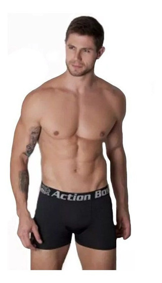 Cueca Boxer Kit Com 3 Cuecas Em Microfibra Lisa Action Boy