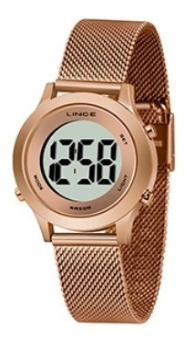 Relógio Lince Digital Rosé Redondo Sdph113l Bxrx