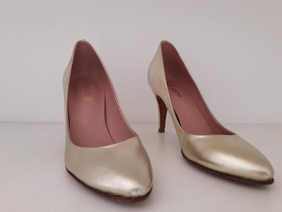 Zapatos Stilletos Sibyl Vane N36 Dorados Originales Nuevos
