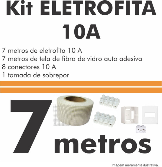 Kit Fita Elétrica (10 A) 2 Pistas - 7m + 1 Tomada
