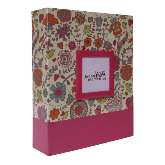 Álbum Para 200 Fotos 10x15 Com Janela - Floral Rosa