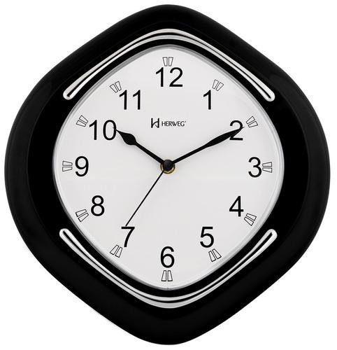 Relógio De Parede Preto Herweg Plástico Metalizado 6124