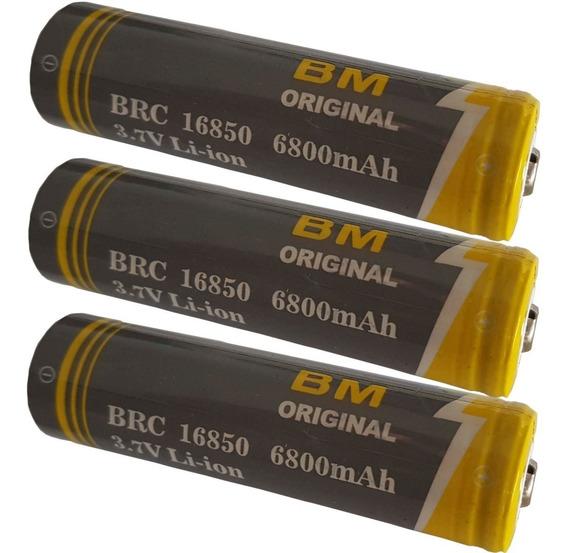 3 Bateria Recarregável Litio 3.7v 6800 Lanterna Tática B-max