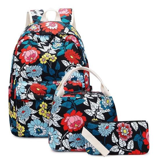 Mochila Notebook Flores Com Bolsa Necessarie