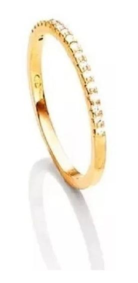 Porta Aliança Aparador Prata Banhado Ouro Zirconias Micro
