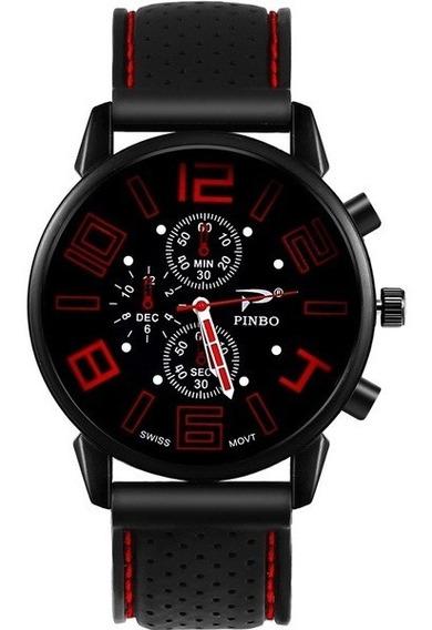 Relógio Masculino Esportivo Ponteiros Pulseira Silicone
