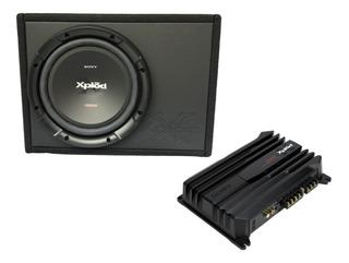Paquete Sony Amplificador 2 Ch Subwoofer 12 Y Cajon 500w Max