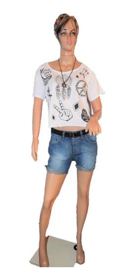 Maria Cher Boyfriend Short Modelo Vaguito De Jean Promo