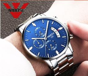 Relógio Nibosi Masculino Aço Prata E Azul