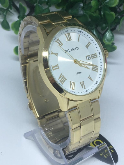 Relógio Unissex Atlantis Dourado G3435 Original Luxo Social