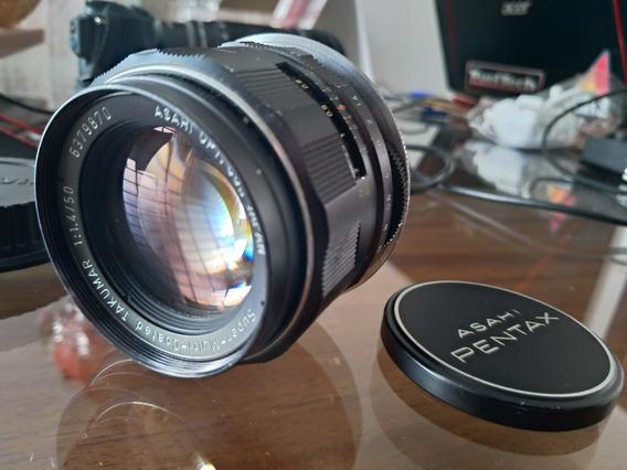 Lente Pentax M42 Takumar 50mm F 1.4 C/ Adaptador P/ Canon