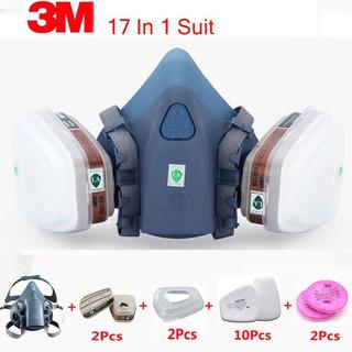 Máscara Respirador Pintura Kit 17x1 Modelo 7502 Completo 3m
