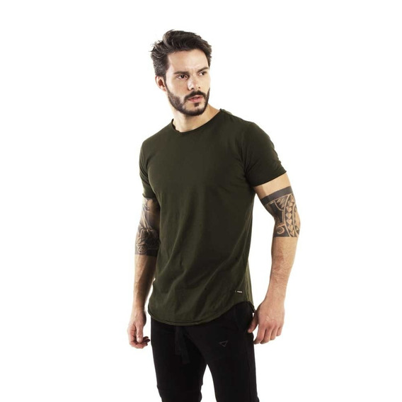 Camiseta Longline Curve Verde Militar