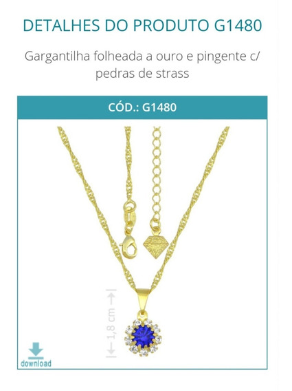 G1480 Gargantilha Folheada A Ouro E Pingente C/ Pedras De St