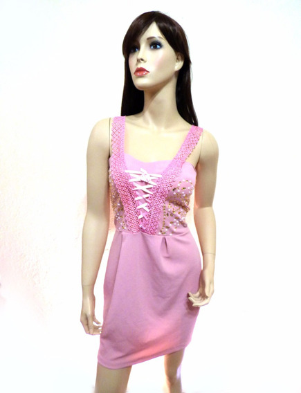 Hermoso Vestido Corto Color Rosa Sin Mangas
