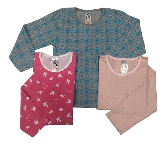 Kit 3 Camisetas Blusas Manga Longa Meninas Algodão 247k