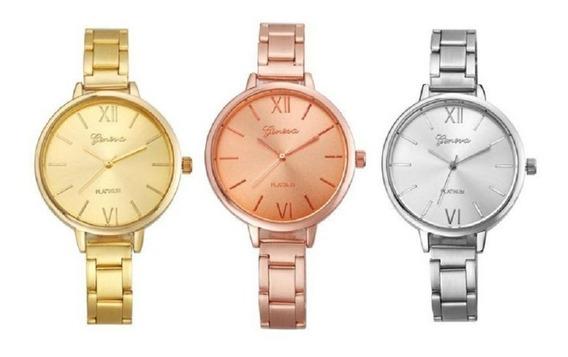 Reloj Dama Metálico Geneva De Moda Económicos Mayoreo Lote 2