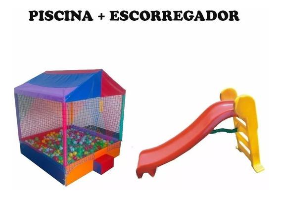 Piscina De Bolinhas 2x2m C/2000 Bol + Escorregador 3 Degraus