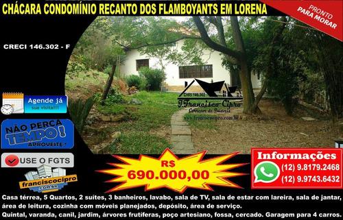 Imagem 1 de 20 de Chacara-para-venda-em-condominio-recanto-dos-flamboyants-lorena-sp - Ch129