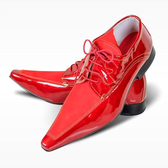 Sapato Social Couro Vermelho - Modelo Premium (lançamento)