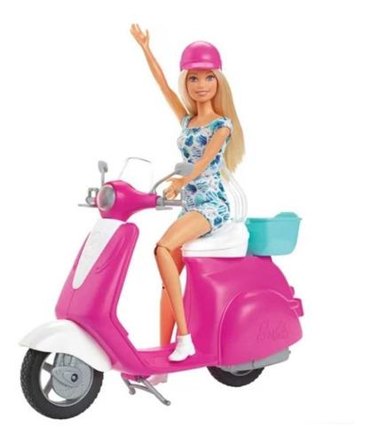 Barbie 30cm Con Moto Scooter Y Accesorios Mattel Gbk85