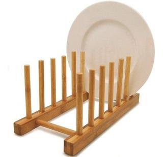 Suporte Display Porta 6 Pratos Bambu Bancada Cozinha Prato Cla06013